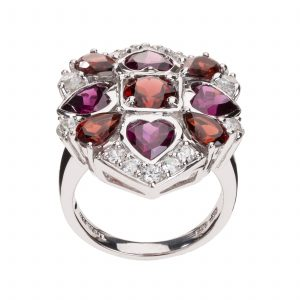 Sterling Silver 7.68ctw Multi Garnet & White Topaz Ring