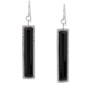 Sterling Silver Black Agate & White Topaz Linear Dangle Earrings