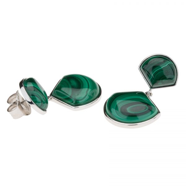 Sterling Silver Malachite Fan Drop Earrings