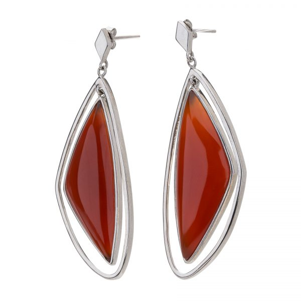 Sterling Silver Organic Carnelian Drop Earrings