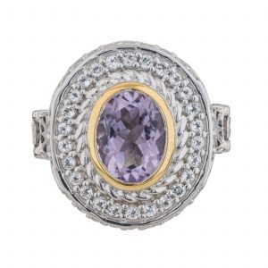 Sterling Silver Oval Cut Brazilian Amethyst Split Shank Halo Ring