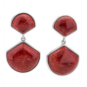Sterling Silver Red Coral Fan Drop Earrings