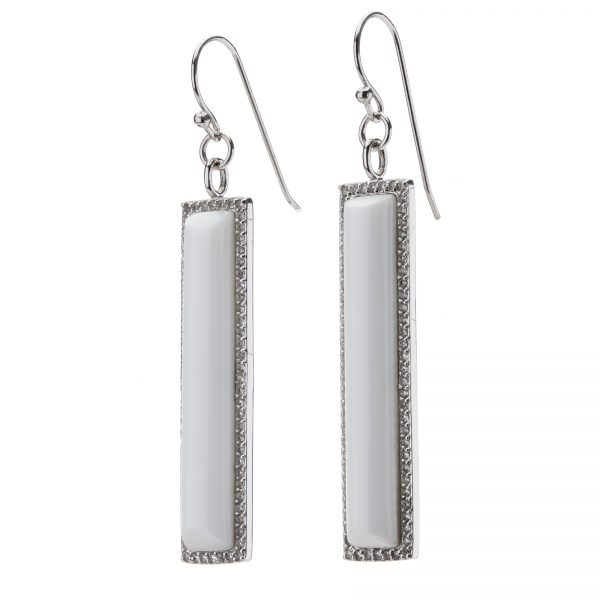 Sterling Silver White Agate & White Topaz Linear Dangle Earrings