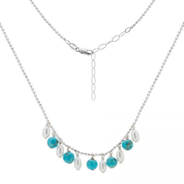 "Pangea Mines 18"" Turquoise and Freshwater Pearl Chain Necklace"