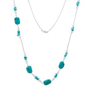 "Pangea Mines 35"" Turquoise and Freshwater Pearl Chain Necklace"