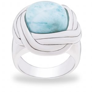 Pangea Mines Royal Island Collection Dominican Larimar Undulating Waters Bezel Set Ring