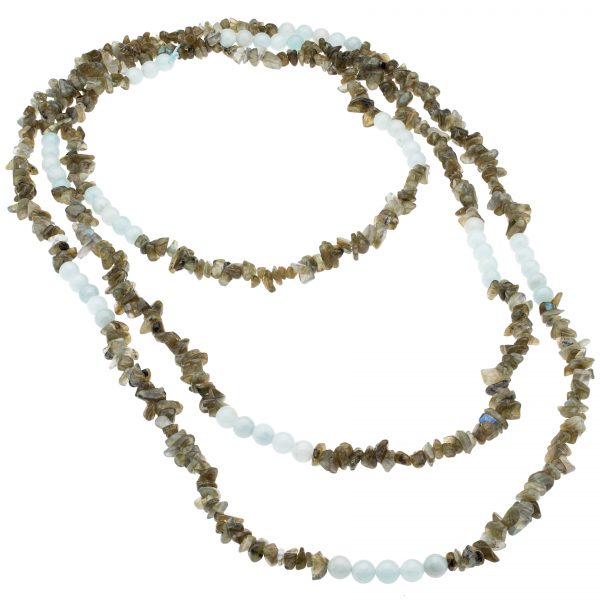 Pangea Mines Aquamarine and Labradorite Bead Necklace