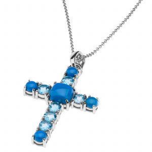 Pangea Mines Ceruleite & Blue Topaz Cross Enhancer