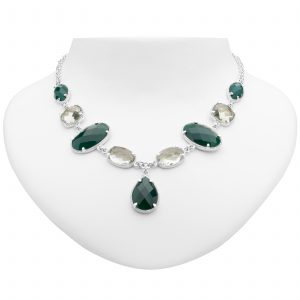 Pangea Mines Green Agate and Prasiolite Drop Necklace