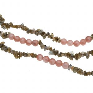 Pangea Mines Peach Moonstone and Labradorite Bead Necklace