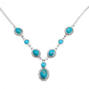 Pangea Mines Round Kingman & Sleeping Beauty Turquoise Drop Necklace