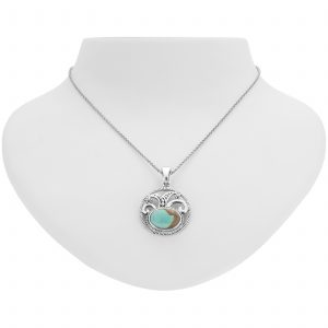 """Pangea Mines 14x10mm Oval #8 Mine Turquoise Enhancer Pendant with 18"""" Chain"""