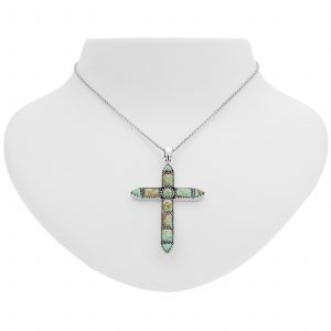 """Pangea Mines #8 Mine Turquoise Cross Pendant with 18"""" Rolo Chain"""