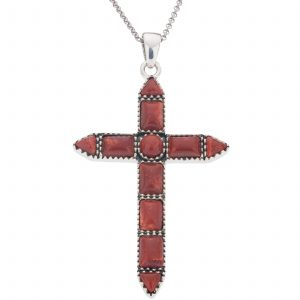 """Pangea Mines Dyed Red Coral Cross Pendant with 18"""" Rolo Chain"""