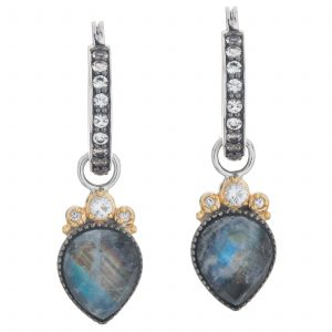 Pangea Mines Rainbow Moonstone /Black Onyx and White Topaz Doublet Drop Earrings