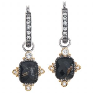 Pangea Mines Rutilated Quartz/Black Onyx and White Topaz Doublet Drop Earrings