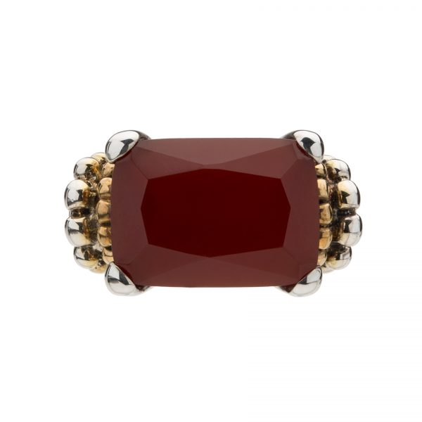 Sterling Silver Contemporary Gold-Plated Beaded Ring with Gorgeous Carnelian