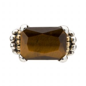Sterling Silver Contemporary Gold-Plated Beaded Ring with Intriguing Tiger's Eye