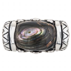 Sterling Silver Cushion Shaped Bronze Abalone East-West Ring