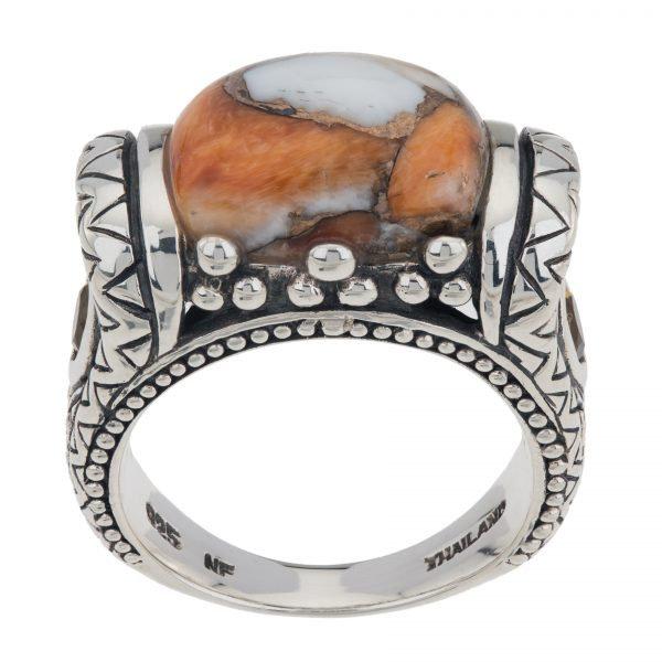 Sterling Silver Cushion Shaped Spiny Oyster Bronze East-West Ring