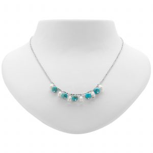 """Pangea Mines 18"""" Turquoise and Freshwater Pearl Chain Necklace"""