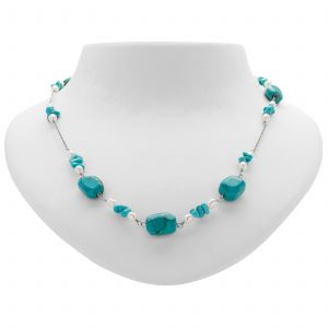 """Pangea Mines 35"""" Turquoise and Freshwater Pearl Chain Necklace"""
