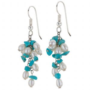 Pangea Mines Turquoise and Freshwater Pearl Clustered Drop Earrings