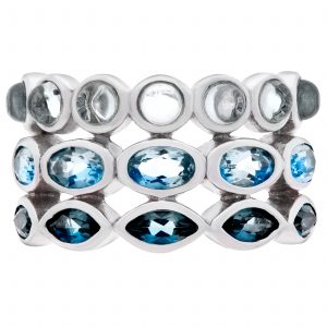 Pangea Mine's Moody Blues Collection Collection Ombre Sea Multi-Blue Topaz Three Row Ring