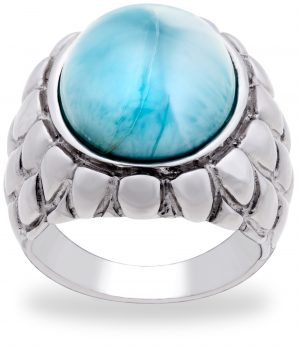 Pangea Mines Royal Island Collection Dominican Larimar Feathered Texture Sterling Silver Ring
