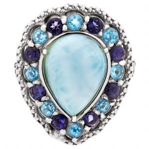 Pangea Mines Royal Island Collection Dominican Larimar Multi-Gemstone Morning Beauty Ring
